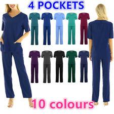 Unisex Scrubs Set Nurses Uniform Hospital Medical  Top Long Pants Costume #S-3XL