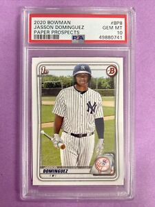 2020 Bowman Jasson Dominguez RC Rookie Paper #BP8 PSA 10 GEM MT YANKEES