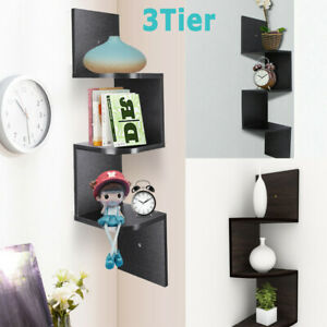3 Tier Floating Wall Shelves Corner Shelf Storage Display Bookcase Bedroom Decor