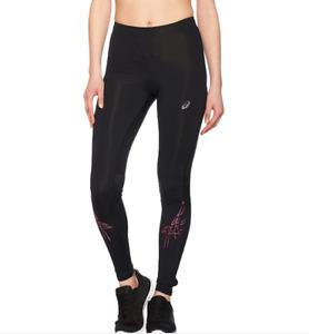 Asics Women's Running Tights Stripe Pattern Tights - Black/Light Pink - New