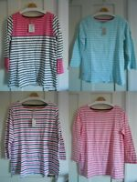 Joules Harbour Stripe Jersey Top 3/4 Sleeves UK10 12 14 16 18 20