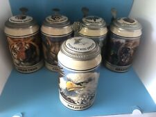 Set Of 5 Budweiser ENDANGERED SPECIES Lidded Stein Series