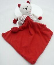 Berlingot doudou chat rouge rayé blanc avec mouchoir 20 cm