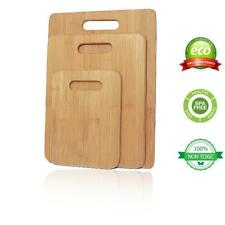 Bamboo Cutting Board Set for Kitchen Serving Chopping Boards Wooden Wood 3 pcs