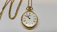Royal Reloj de bolsillo con cadena cuerda manual CA 80 cm bañado en oro