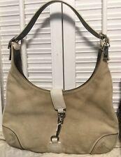 COACH Suede Beige HAMPTON Clip Lock Closure Hobo Shoulder Handbag Small