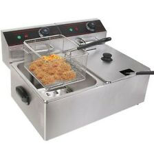 New 5000w Electric Countertop Deep Fryer Dual Tank Commercial Restaurant Steel +