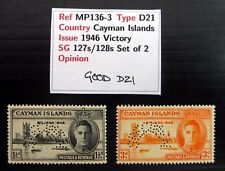 """CAYMAN ISLANDS 1946 Victory with """"SPECIMEN PERFIN"""" SG127s/128s U/M NC139"""