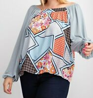 New Easel Top 1X Blue Patchwork Mosaic Bubble Sleeve Relaxed Fit Plus Size