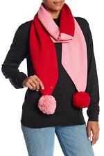 Kate Spade New York Muffler Scarf Colorblock Pom Pom Pompom Red Pink