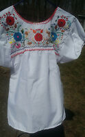 Puebla Mexican Blouse Top Shirt White Embroidered Flowers Birds Floral Medium S
