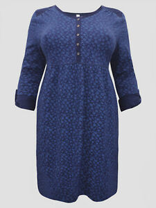 Sheego roll sleeve jersey cotton dress blue floral print sizes 14 to 32