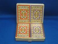Vtg Double Deck Congress Red Purple Floral Rug Tapestry Playing Cards
