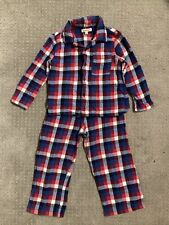 Blue Plaid Check 100% Brushed Cotton Pajamas Pjs Boys Age 2-3 Years