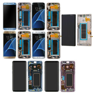 For Samsung Galaxy S7 edge S8+ S9 Plus Note 9 LCD Touch Screen Digitizer + Frame