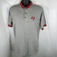Tampa Bay Buccaneers Mens Medium Vintage Golf Polo Gray Embroidered Shirt
