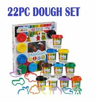 22PC DOUGH TUBS SHAPES PLAY HOBBY CRAFT GIFT SET MODELING CLAY PLASTICINE TOYS