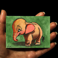original miniature animals painting ACEO art picture watercolor drawing ELEPHANT
