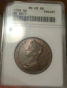 Great Britain 1/2 Penny (Halfpenny) 1729 ANACS MS 63 RB (small slab)