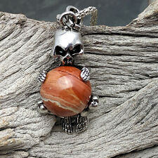 Silver Tone Skeleton On Red Jasper Stone Pendant Necklace
