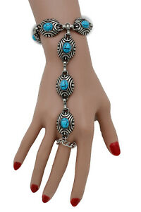 Women Western Fashion Silver Bracelet Hand Chain Slave Ring Turquoise Blue Beads