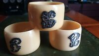 Antique Napkin Rings set 3 Solid Silver Letters monogram Celluloid Hallmark 19th