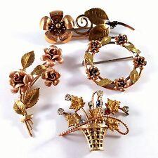 ALL Signed KREMENTZ Vintage Brooch Pin Lot Gold Filled Flower Leaf Brass EE3