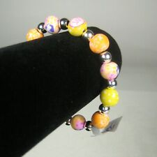 NEW Viva Beads Bracelet Silvertone 8 Inch Ceramic Orange Yellow Stretch Sunshine