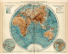 1905 WORLD PLANISPHERE AFRICA EUROPE ASIA AUSTRALIA ANTARCTICA ARCTIC Map dated