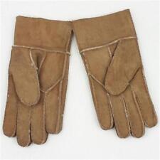 Warm Men's Winter Genuine Brown Sheepskin Leather Shearling Fur Warm Gloves