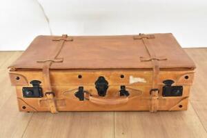 Alter Echtleder Koffer Alt in Braun mit Schnallen Rar (3318)