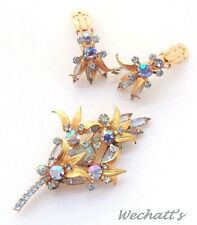 Verified JULIANA D&E Glass Aquamarine Stones Satin Gold Brooch & Earrings