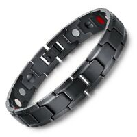 Fashion Health Energy Bracelet Bangle Men Black Jewelry Stainless Steel Magnetic