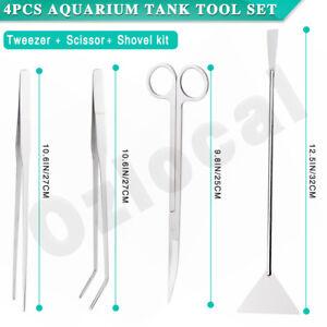 4-in-1 Aquarium Tank Aquatic Plant Tweezers Scissors Spatula Tool Set Kits
