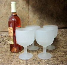 Frosted White Goblets Set Of Four Wine Glasses Stemmed Drinkware Barware