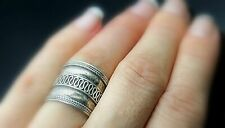 Silver Wide Band Ring Sz 6.5 Vintage Twisted Rope Edge Etruscan Style Sterling