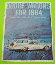 1964 DODGE STATION WAGON DLX COLOR CATALOG Brochure 8-pgs 880 DART 440 Xlnt+