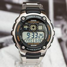 Casio Men's 200M WR 5 Alarms World Time Watch 10 Year Steel Bnd AE2000WD-1AV New