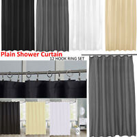 Fabric Shower Curtain 100% Polyester Washable Modern Design 180x180cm + 12 Hook