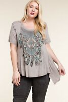 Vocal Apparel Women's Plus Taupe Mineral Wash Feather Tunic 15817SX