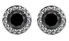 4.00 ct Round Cut Black Diamond Studs Earrings With Side Diamonds