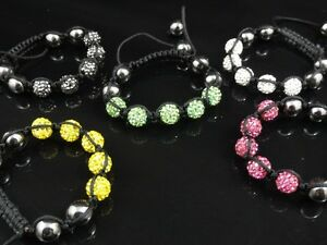 Men's Women's Crystal Baby Bracelet 2 Colors Black & Green Available
