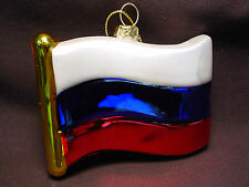 """NOS Blown Glass Russian Flag Russia Xmas Tree Ornament 3"""" National Flag Country"""