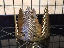 Antique Brass Christmas Tree Globe & Yankee Taper Candle Holder Unique Estate #