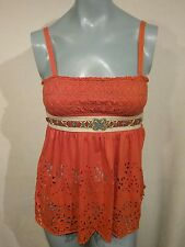 FREE PEOPLE Baby Doll Tank Top Orange Indian Beaded BOHO Size Extra Small  T30