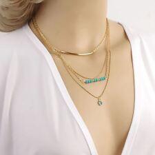Bohemian 3 Layers Chain Fatima Evil Eye Turquoise Beads Charm Necklace UK