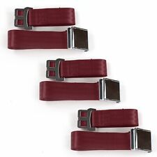 Jeep Comanche 1985-1992 Airplane 2 Pt. Burgandy Lap Bench Seat Belt Kit 3