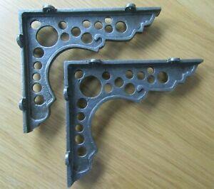 PAIR OF GUNSHOT cast iron rustic shelf Bracket wall Support books storage