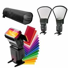New 12 Colors card Flash Diffuser Kit+silver/white Reflector+Foldable Beam Snoot