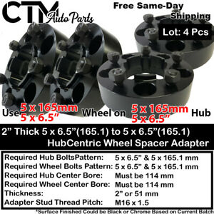 """4pc 2/"""" 5x165.1 Black Hubcentric Wheel Adapter Fits 1989-1998 LandRover Discovery"""